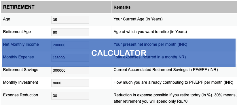 Financial Planning Calculator - Screenshot