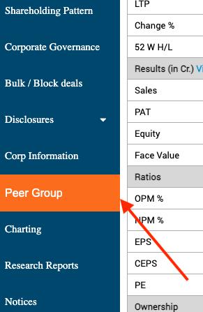 BSEIndia sidebar - peer group