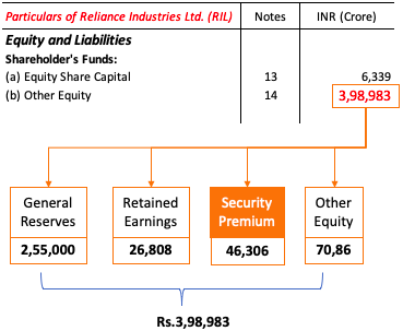Balance Sheet - Share Premium Account (RIL)