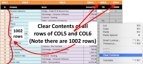 Clear contents of COL5 and COL6