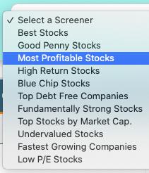 Screener List - Profitable stocks