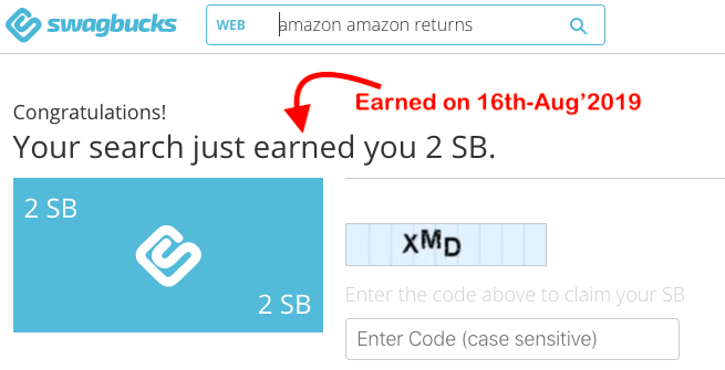 Swagbucks India - Search Own Example