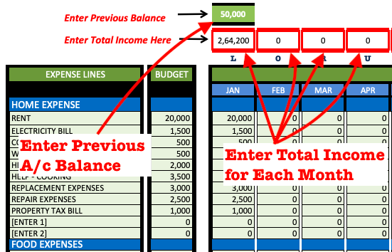 Expense Tracking - IncomeEntry Sheet
