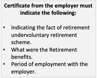 Senior Citizen Savings Scheme SCSS Certificate from the employer 55 years age